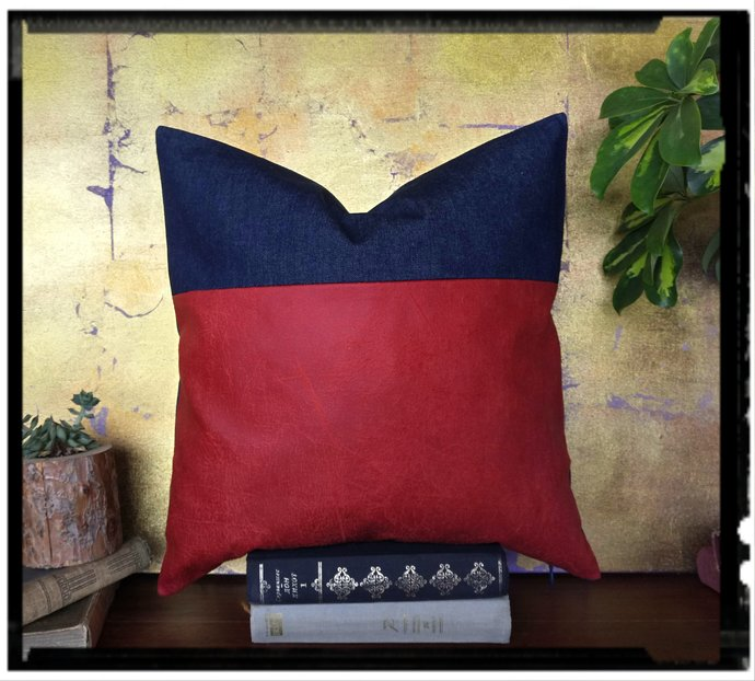 Fast shipping/Red faux leather fabric and denim  pillow cover -15 color