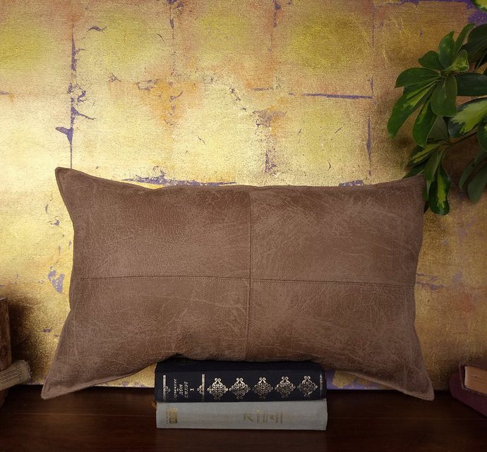 Ready to ship/piecewise square design caramel thick faux leather pillow with