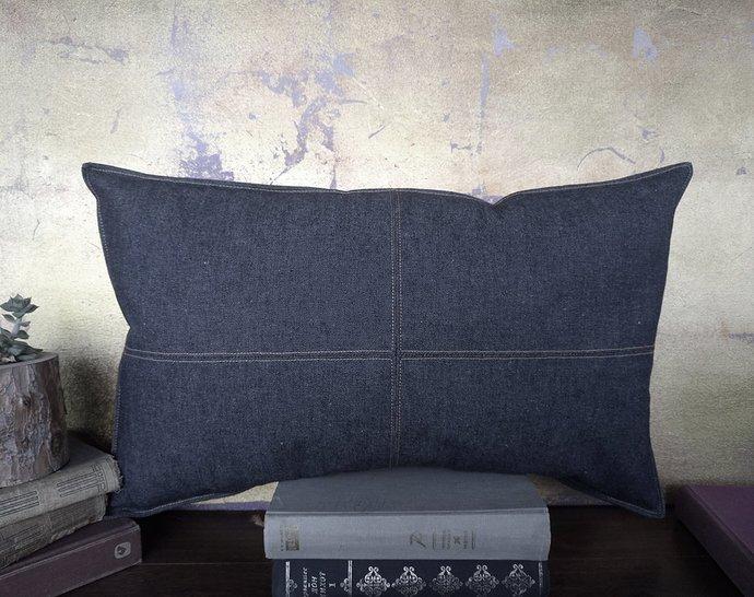 Ready to ship/denim dark blue piecewise square denim pillow with decorative