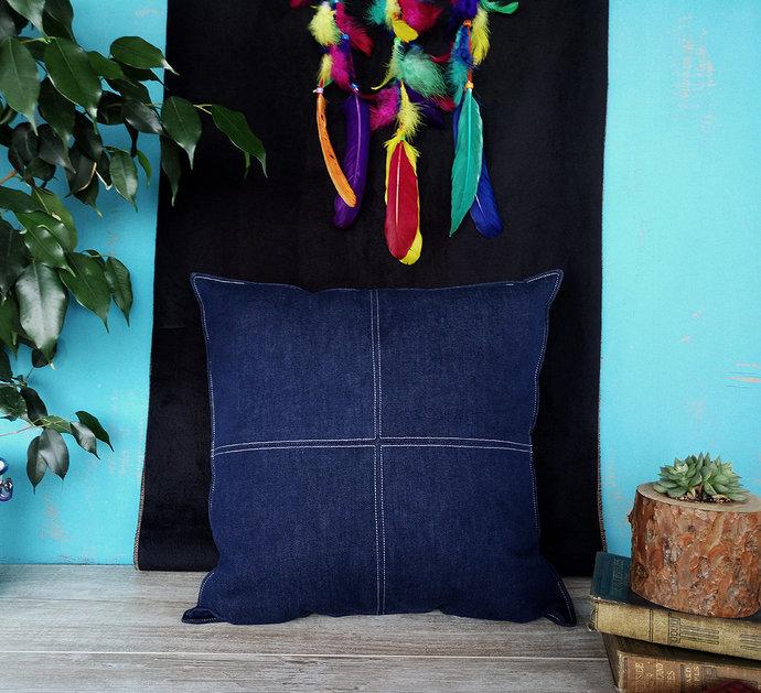 Ready to ship/Indigo denim blue piecewise square denim pillow with decorative
