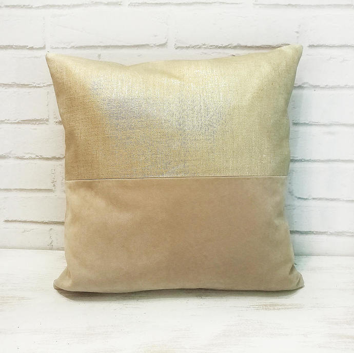 Ready to ship/Metallic gold linen-beige faux suede  pillow cover/Home Decor/Soft
