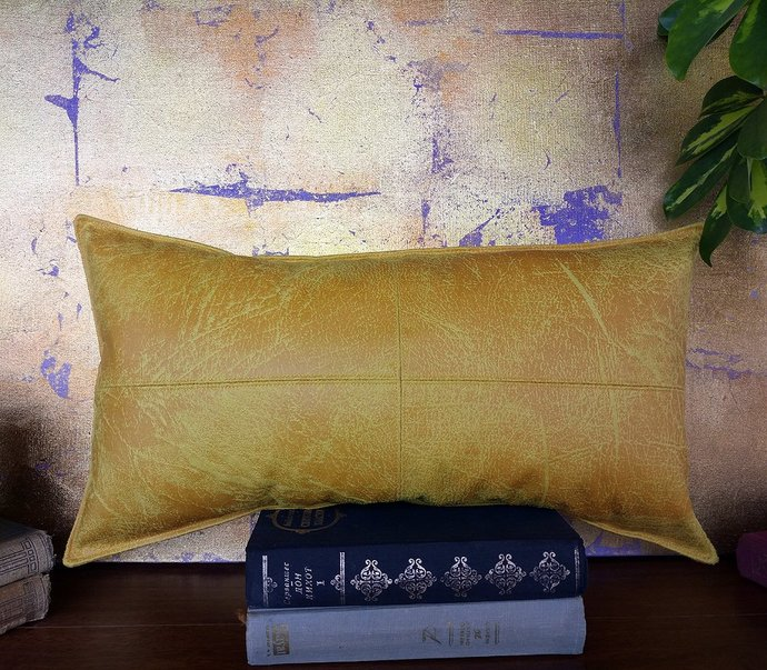 Summer yellow &15color optional piecewise square faux leather fabric lumbar