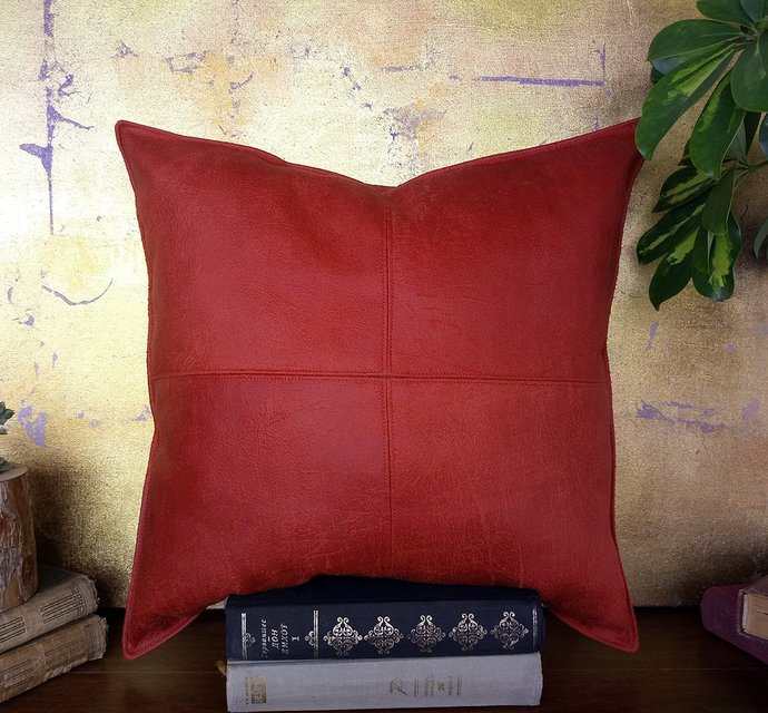 Ready to ship/Piecewise square design red faux leather pillow with decorative