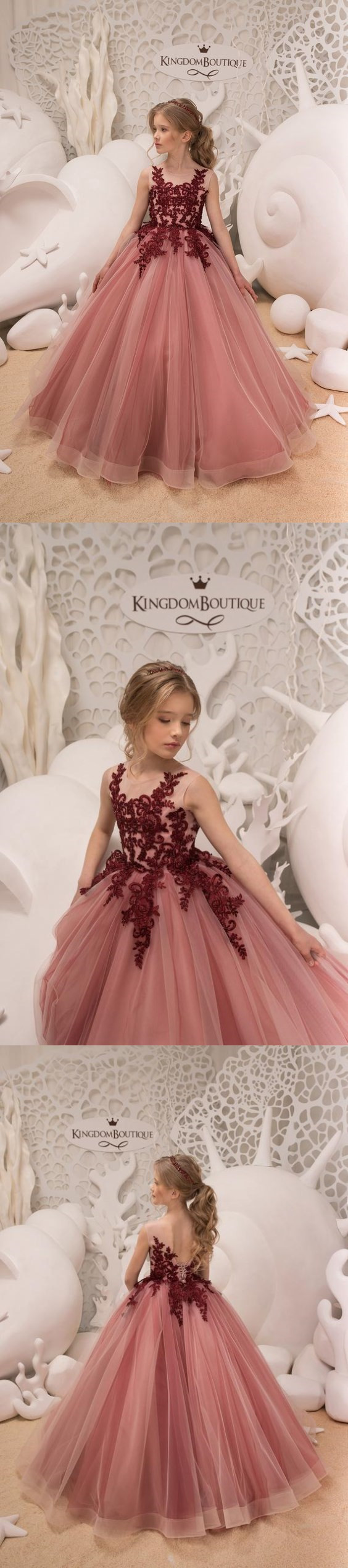 f434aadc56e9e Blush Pink and Maroon Flower Girl Dress Birthday Wedding Party Holiday