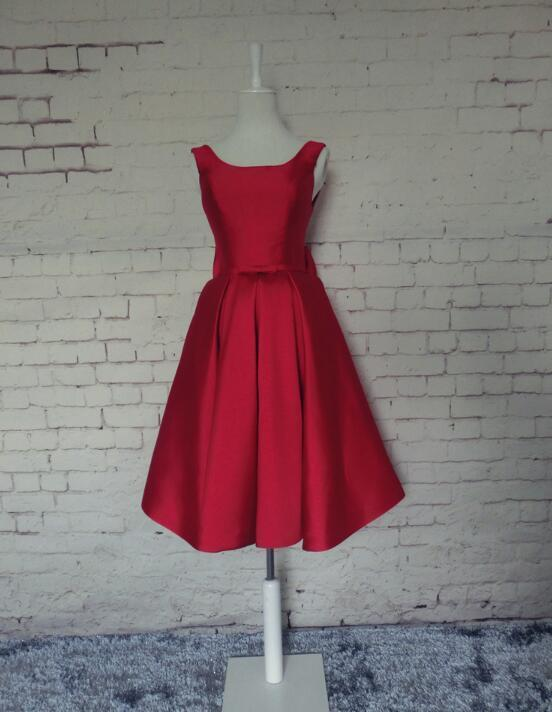 Dark Red Satin Short Prom Dress, Red Homecoming Dress, Lovely Prom Dress