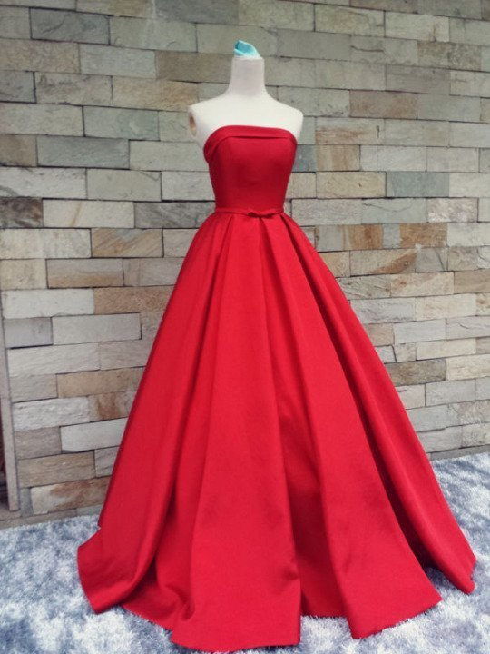Red Long Satin Junior Prom Dress 2019, Beautiful Party Gown