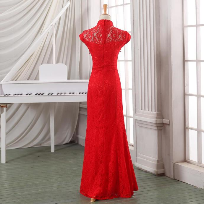 Red Cap Sleeves Mermaid Lace Wedding Party Dress, Pretty Formal Dress