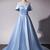 Light Blue Off Shoulder Long Prom Dress 2019, Junior Prom Dress