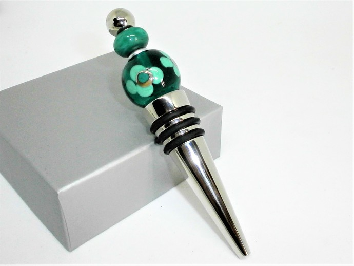 Transparent Teal Glass Lampwork bead decorated stainless steel wine bottle