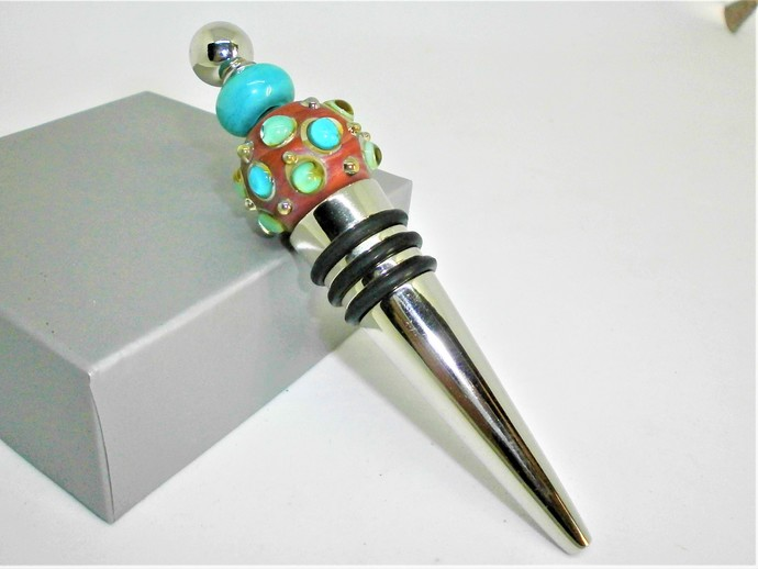Coral Glass Lampwork bead decorated stainless steel wine bottle stopper.