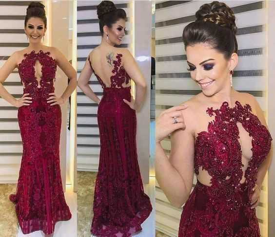 Sexy Mermaid Lace Red Beading Backless Prom Dress