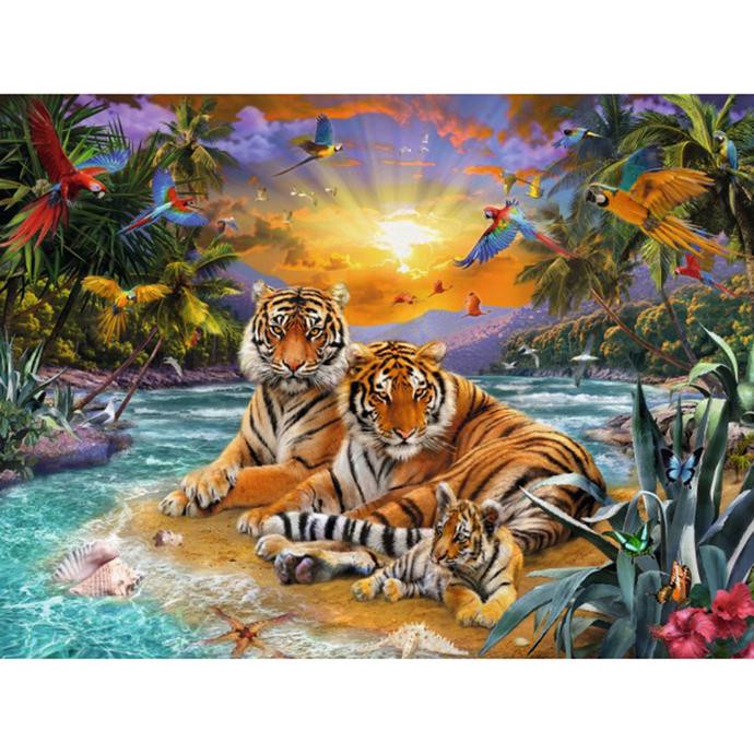 leopard family Diamond Painting DIY kit Canvas Painting Wall Art Mosaic Painting