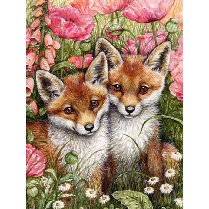 Fox couple Diamond Painting DIY by video games design decal on Zibbet