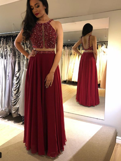 fff4cbce27 2019 Burgundy Beaded A-Line Prom Dress