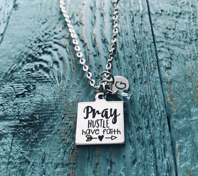 Pray, hustle, have faith, Cancer, Survivor, Christian, Silver Necklace, Charm