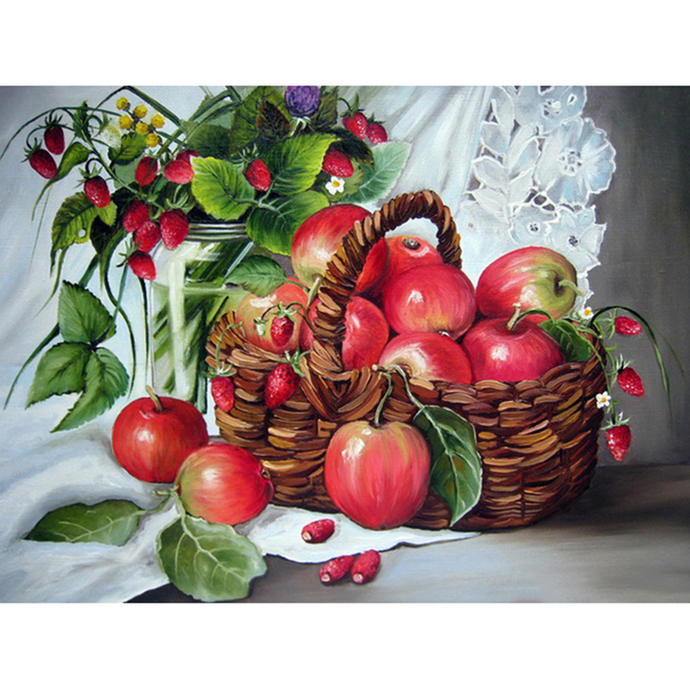 Apples in basket Diamond Painting DIY kit Canvas Painting Wall Art Mosaic