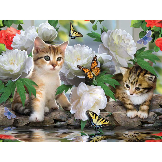 Cats with flowers Diamond Painting DIY kit Canvas Painting Wall Art Mosaic