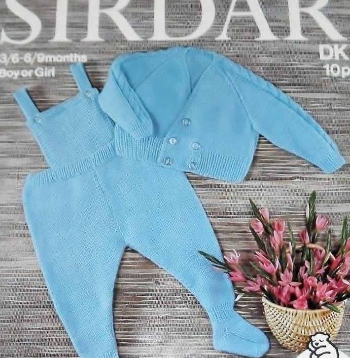 Instant PDF Digital Download Vintage Knitting Pattern Baby Dungarees and Jacket