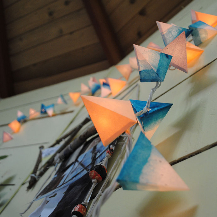 Paper Pyramid Lanterns - AIR - handmade paper lanterns in blue, white, and cream