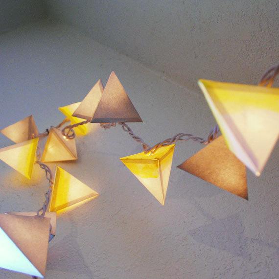 Pyramid Paper Lanterns - THE WHITE DWARF - handmade geometric light garland with