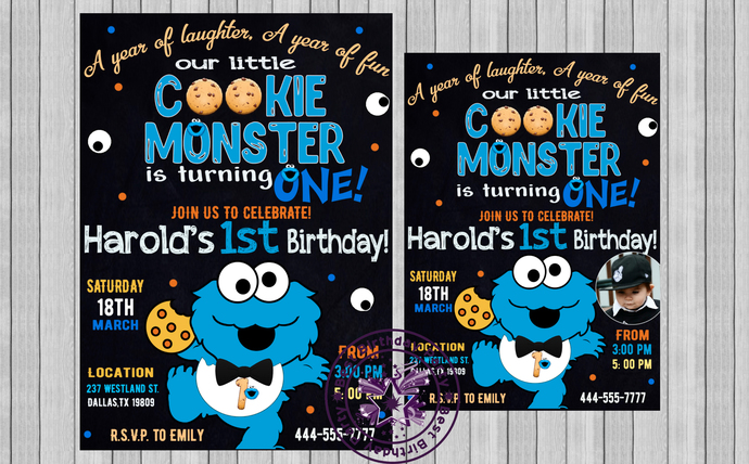Cookie Monster Invitation Invitations Printable First Birthday