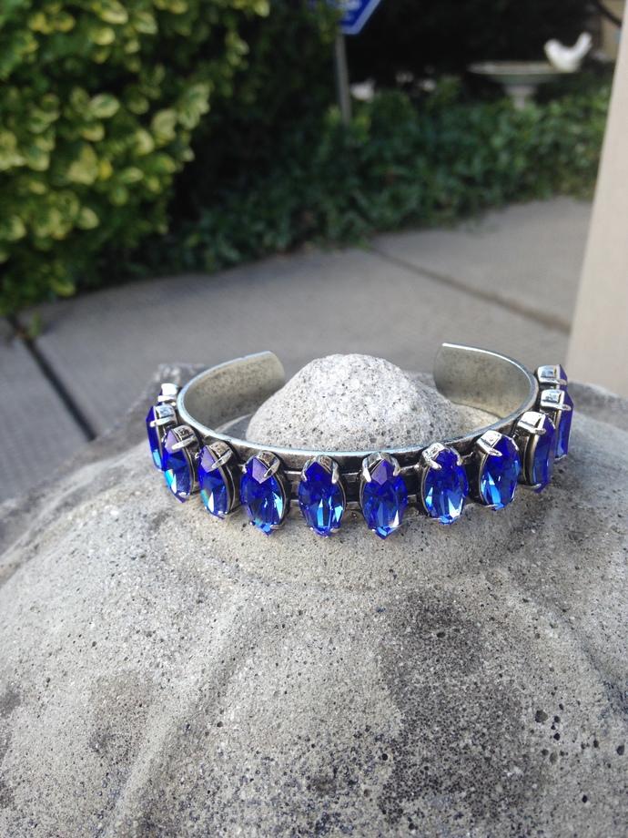 SOLD-Blue Sapphire Swarovski Marquise Crystal Cuff Bracelet  White Oval Silver