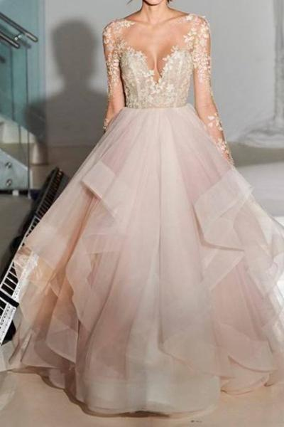 Blush Pink Wedding Dresses Backless See Through Long Sleeve Wedding Dresses