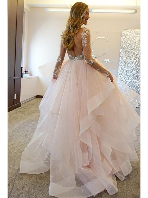 Blush Pink Wedding Dresses Backless See Through Long Sleeve Wedding Dresses