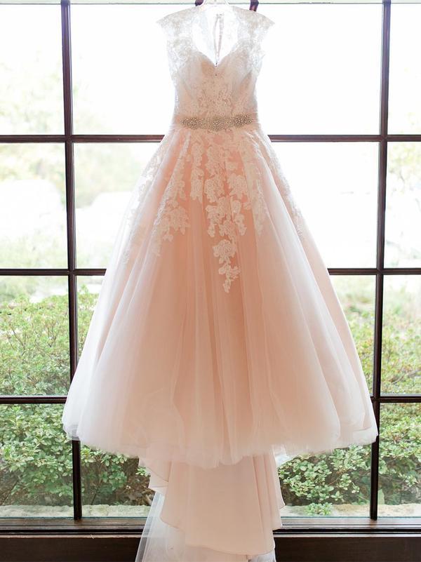 Lace Applique Blush Pink Wedding Dresses Cheap Bridal Dress