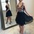 Black Floral Homecoming Dresses V Neck Cheap Embroidered Short Prom Dresses