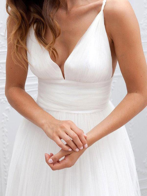 A-line V-neck Spaghetti Strap Simple Cheap Beach Wedding Dresses