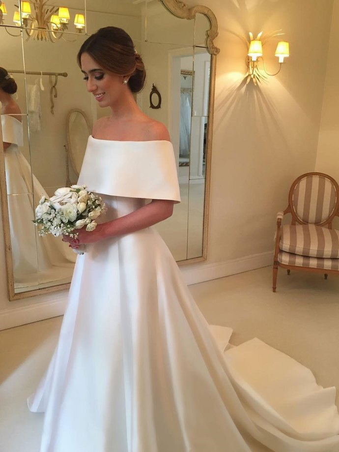 A-line Off the Shoulder Satin Cheap Simple Bridal Wedding Dresses