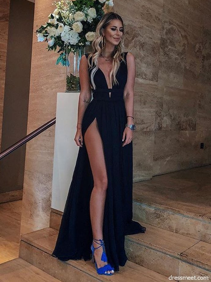 d89eb1ac022 Sexy A Line V Neck High Slit Chiffon Black Long Prom by lass on Zibbet