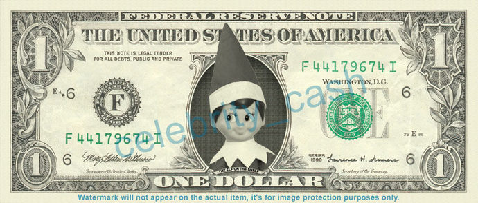 Elf on a Shelf on a REAL Dollar Bill Cash Money Collectible Memorabilia