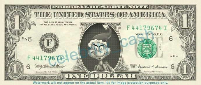 The Grinch Stole Christmas on a REAL Dollar Bill Cash Money Collectible