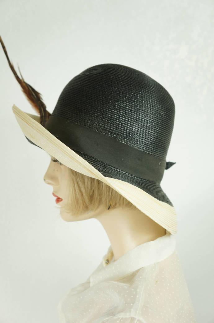 Vintage Cloche  Hat Evelyn Varon Designer Hat   Mid Century Women s Straw  and 4c7a7de221c