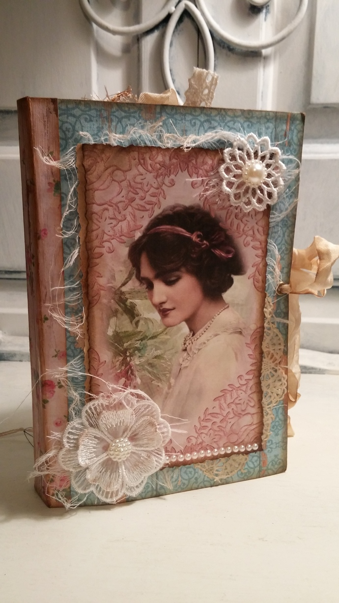 Shabby teal and pink junk journal