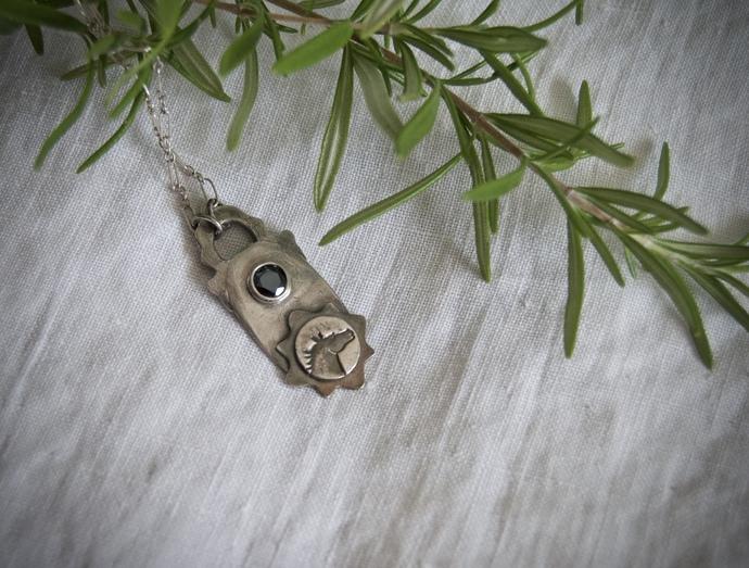 Horse necklace, silver horse, black spinel, OOAK necklace, black beauty, unique