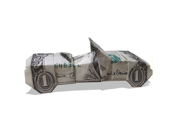 Convertible Car Money Origami Art Dollar Bill Cash Sculptors Bank Note Handmade