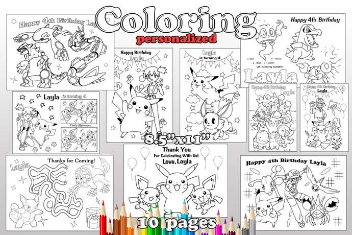 Pokemon Birthday Party Favor Pokemon Coloring Pages Pokemon Birthday Party Decoration Pdf