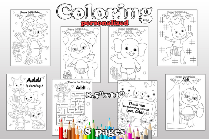Word Party Birthday Party favor, Word Party coloring pages, Word Party party
