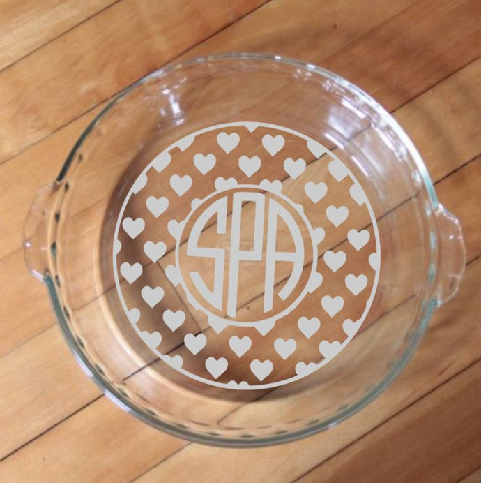 Monogram Pie Plate - Personalized Pie Plate - Bakeware - Casserole Dish