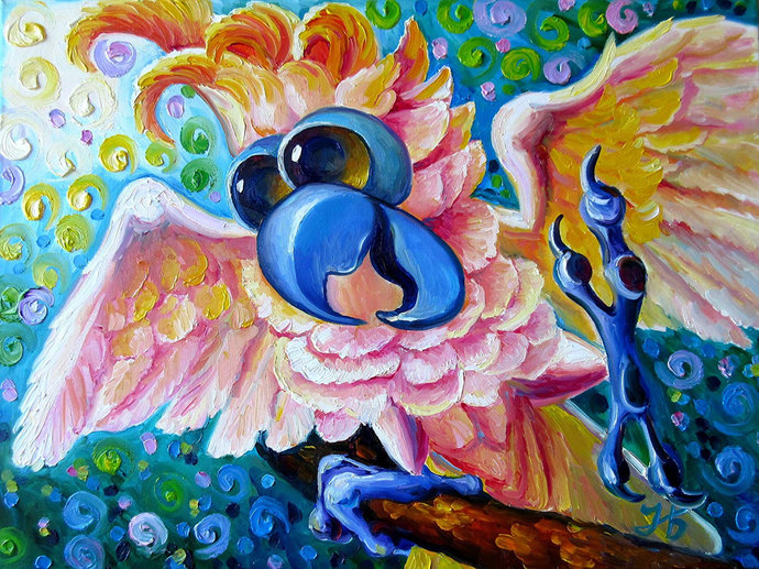 DIY Dancing Parrot  Animal Diamond Painting, Square Full Drill Diamond Painting