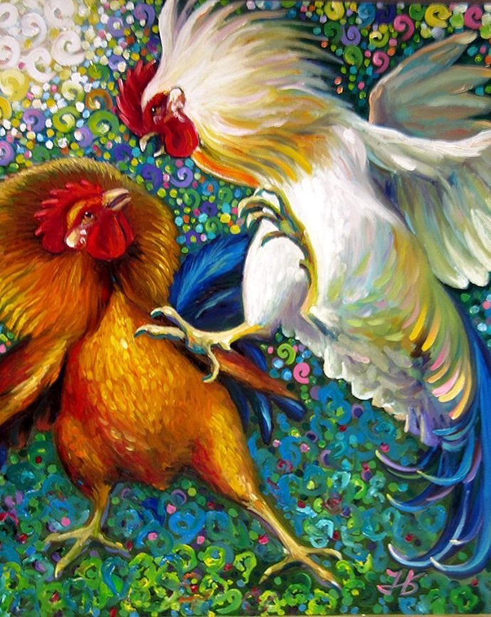 DIY Fighting Roosters Animal Diamond Painting, Square Full Drill Diamond