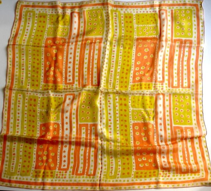 Vera Neumann Yellow White Peach Squares And Polka Dot 1950s Silk Scarf