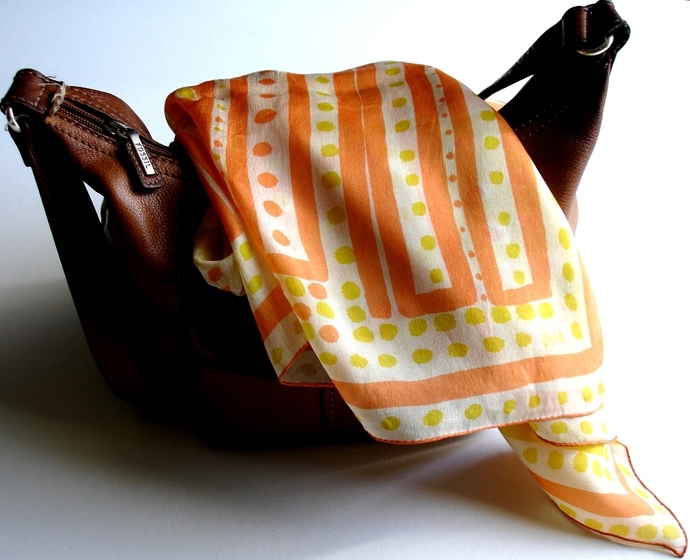 Vera Neumann Yellow White Peach Squares And Polka Dot 1950s Silk Scarf