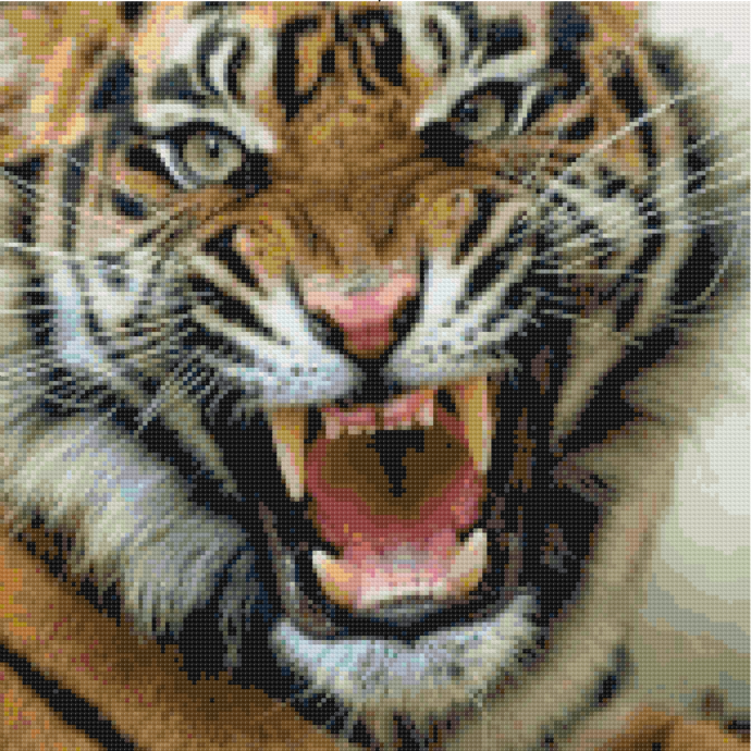Roaring Tiger Cross Stitch Pattern, Instant Download Pattern, Tiger Pattern