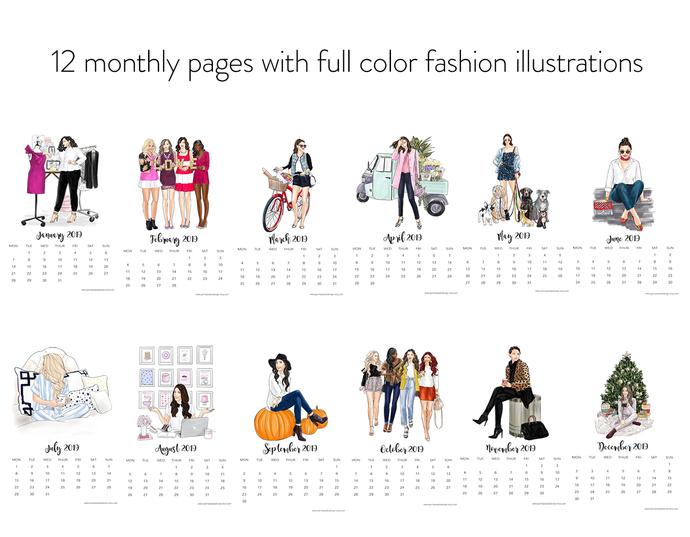 2019 Fashion Girls Calendar,- Light Skin, Instant Download Calendar, Printable