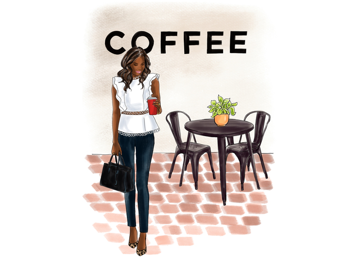 Watercolor fashion illustration clipart - Coffee Girls 4 - Dark Skin
