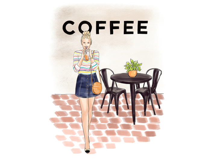 Watercolour fashion illustration clipart - Coffee Girls 4 - Light Skin